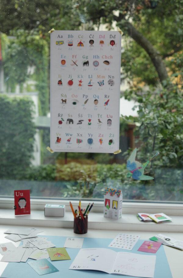 Přehledný plakát s abecedou na skle nad psacím stolem dítěte