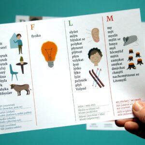 Přehledová karta s vyjmenovanými slovy po B F L M a na druhé straně P S V Z