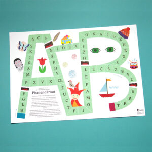 Herní plán hry Písmenožrout, díky které si vaše děti procvičí spojení hlásky a slova