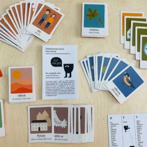 Hrací karty s vyjmenovanými slovy a tipy na pět her - usnadní třeťákům učení